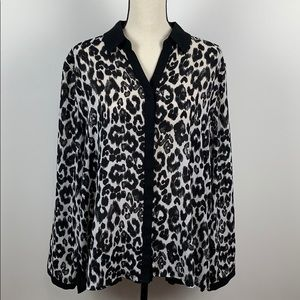 Chico's Animal Print Long Sleeve Blouse Size 3